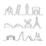 Travel location landmark icons line Stock Photography