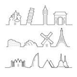 Travel location landmark icons line Stock Photography