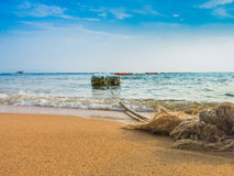 Travel locations with nautical rope on the beach at Pataya in Th Royalty Free Stock Images