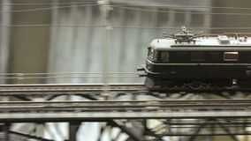 Travel locomotive on railway bridge stock footage