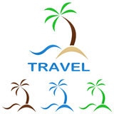 Travel logo design template. Beach, palm tree, sea Stock Image