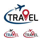 Travel logo that have a plane flying around travel text. vector Stock Photos