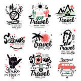 Travel logo. Tour logo. Tourist handmade logo. Exotic summer holiday sign, icon. Stock Photos