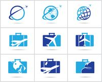 Travel logos set design. Ticket agency and tourism vector icons, airplane in bag and globe. Luggage bag logo, world tour. Stock Photo