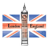 Travel London city famous building and flag. Great Britain background Stock Photos