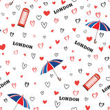Travel London city seamless pattern with love hearts and umbrell Royalty Free Stock Image