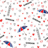 Travel London city seamless pattern with love hearts and umbrell Stock Images