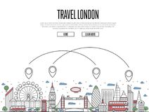 Travel London poster in linear style. Travel London poster with national architectural attractions and air route symbols in trendy linear style. London famous Royalty Free Stock Photo