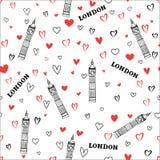 Travel London seamless pattern. British vacation wallpaper. Royalty Free Stock Images