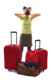 Travel with a lot of bags and luggages stock photos