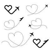 Travel love in heart black icon set illustration stock illustration
