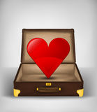 Travel love in open travel suitcase transport concept vector Stock Image
