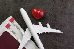 Travel lover, honeymoon trip or valentine`s gift concept, toy ai Royalty Free Stock Photos