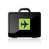 Travel Luggage. Black travel luggage with plane symbol Royalty Free Stock Images