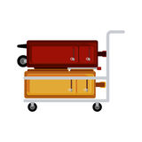 Travel luggage carrier with wheels Stock Image