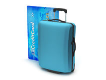 Travel luggage and credit card Royalty Free Stock Images