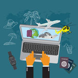 Travel, luggage, cruise liner, helicopter, airplane, flat vector illustration, apps, banner Royalty Free Stock Images