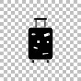 Travel Luggage icon flat. Travel Luggage. Black flat icon on a transparent background. Pictogram for your project vector illustration