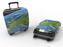 Travel luggage illustration. 3D render illustration of a set of traveling luggage. The objects are  on a white background with shadows Stock Image