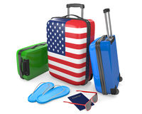 Travel luggage items and accessories for a vacation to or from the United States, 3D rendering. 3D rendering of a suitcase with the American flag and a group of Royalty Free Stock Images