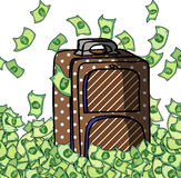 Travel luggage with money Royalty Free Stock Photography