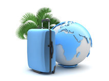 Travel luggage, palm tree and earth globe Stock Photography