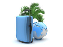 Travel luggage, palm tree and earth globe Stock Image