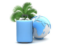 Travel luggage, palm tree and earth globe Royalty Free Stock Images