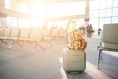 Travel luggage with passenger. Blur background Stock Photo