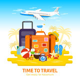 Travel luggage.Travel to World, flat design  illustration. Travel to World, flat design  illustration. Summer Vacation, tourism, holiday, suitcase ready for Stock Image