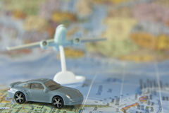 Travel luxury  car and jet airliner Stock Photo