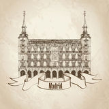 Travel Madrid label. Plaza Mayor in Madrid, Spain. Hand drawing  illustration isolated on old-fashioned background Stock Photo