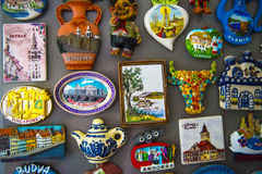 Travel magnets. From all over the world Stock Image