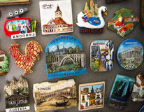 Travel magnets. From all over the world Stock Photo