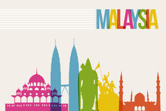 Travel Malaysia destination landmarks skyline background Royalty Free Stock Images