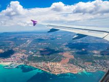 Travel Mallorca island. Aerial view of the coastline in Palma de Mallorca island from the airplane. Spain Stock Photos