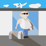 Travel man flat vector illustration. Travel man flat vector template stock illustration