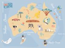 Map of Australia with landmarks and wildlife. Travel Map of Australia with landmarks and wildlife Stock Image