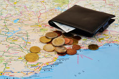 Travel map and cash Stock Images