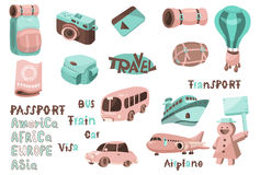 Travel map icons 01. Design elements for travel and vacation with related words Stock Images