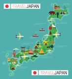 Travel Map of Japan Stock Photography