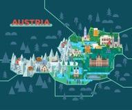 Travel map with landmarks of Austria. stock illustration