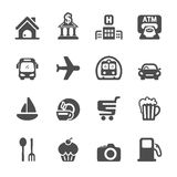 Travel map location icon set, vector eps10 Royalty Free Stock Images