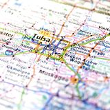 Travel Map of Oklahoma around Tulsa. Closeup of road map or highway atlas of the state of Oklahoma and cities around Tulsa Royalty Free Stock Image