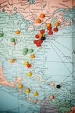 Travel Map with Push Pins. With Focus Centered on New York City, USA stock photography