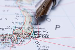 Travel Map Tokyo, Japan. Business travel - Tokyo on the Japan map stock photography