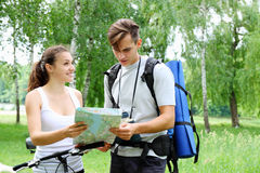 Travel with a map Stock Image