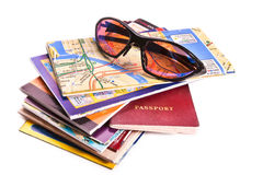 Travel maps, passport and glasses Stock Photography