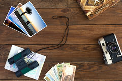Travel Memories Vintage Composition with Color Images and Binoculars Royalty Free Stock Images