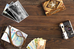 Travel Memories Vintage Composition with Photo Cards and Passport. Travel Memories Vintage Composition old Camera exotic Countries Currency Notes handmade Travel Royalty Free Stock Image